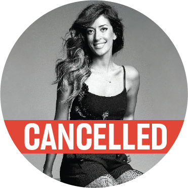 "Black and white photo of Ana Moura where she's looking directly into the camera and smiling with a ""cancelled"" banner across the image"
