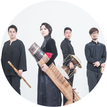 Black String Band Stands dressed up with instruments against white background