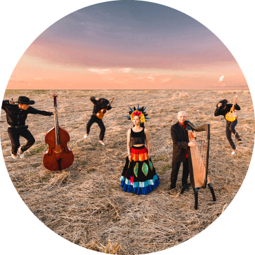 4 men musicians stand with their instruments in a field, a woman dressed in a brightly colored dress stands in the center