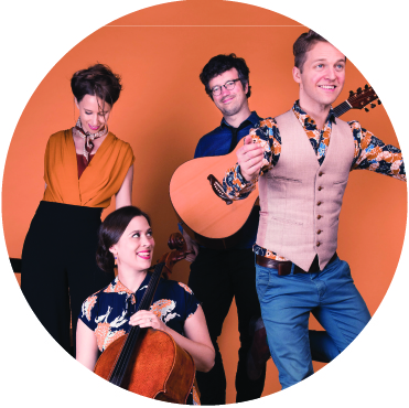 The 4 members of DuoDuo against an orange background holding instruments and dancing