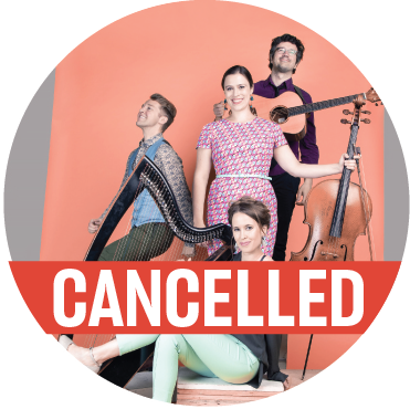 "The 4 members of DuoDuo stand with their instruments in front of a peach background with a banner reading ""cancelled"" across the image"
