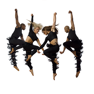 Parsons Dance four dancers in formation in mid-air looking towards ground in front of white backdrop