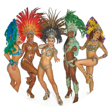 Samba Dance Class girls stand together in colorful exotic costumes