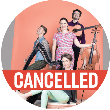"""The 4 members of DuoDuo stand with their instruments in front of a peach background with a banner reading """"cancelled"""" across the image"""