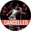 """Mercedes Ruiz in white dress surrounded by musicians with a poppy colored """"cancelled"""" banner over the image"""