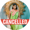 "Leyla McCalla in a green dress with a decorative coral colored shawl with a red ""cancelled"" banner over the photo"
