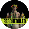 """Lila Downs with a crown of peppers on her head with a black background with a banner reading """"rescheduled"""" over the image"""
