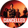"The band with an orange tinted background with a poppy colored ""cancelled"" banner over the image"